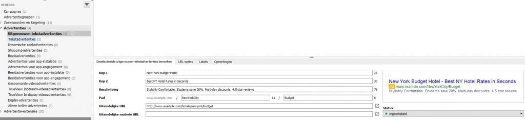 Expanded Text Ads invoeren in AdWords Editor